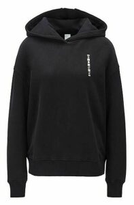 Hooded terry sweatshirt with linear logos and colour-block inserts