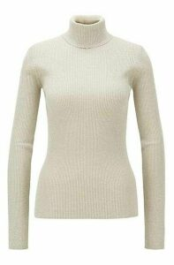 Slim-fit rollneck sweater with metallic yarns