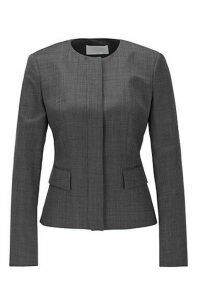 Collarless slim-fit jacket in wool with natural stretch
