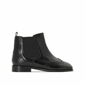 Leather Ankle Boots with Perforated Toe Cap and Side Elastic