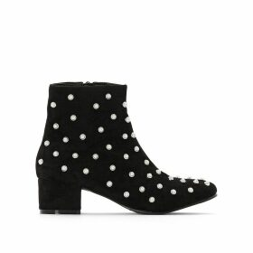 Beaded Ankle Boots with Midi Heel