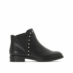 Flat Ankle Boots with Jewel Detail