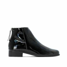 Patent Zip-Up Ankle Boots