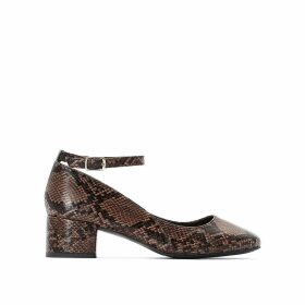 Heeled Ballet Pumps with Snake Print