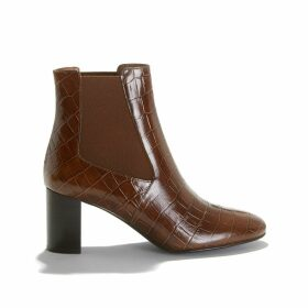 Damou Mock Croc Ankle Boots in Leather