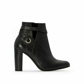 Heeled Zip-Up Leather Ankle Boots