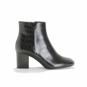 Heeled Leather Boots with Crocodile Pattern