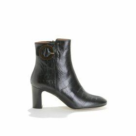 Bertille Heeled Mock Croc Boots