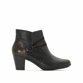 Leather Ankle Boots with Snakeskin Effect Detail