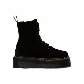 Jadon Velvet Wedge Boots with Lace-Up Fastening