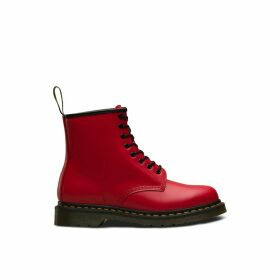 1460 Satchel Red Leather Boots with Lace-Up Fastening