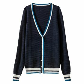 Fine Gauge Openwork Knit Cardigan with Striped Detailing