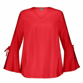 Plain V-Neck Blouse with Fluted Sleeves