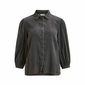 Peter Pan Collar Shirt with Puff Sleeves