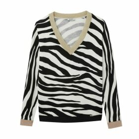 V-neck Jumper in Fine Zebra Pattern