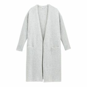 Long Open Cardigan in Fluffly Chunky Knit