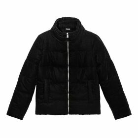 Smooth Velvet Padded Jacket with Pockets