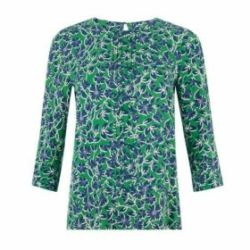 Navy and Green Climbing Floral Pop Over Top