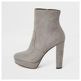 River Island Womens Grey suedette wide fit platform ankle boots