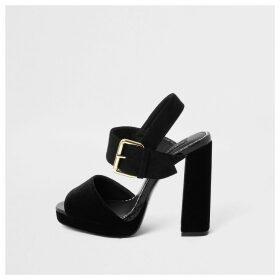 River Island Womens Black velvet wide fit platform heel sandals