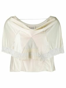 Maison Martin Margiela Pre-Owned lace overlay blouse - NEUTRALS