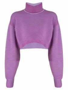 Nagnata merino wool blend cropped rib-knit sweater - Purple