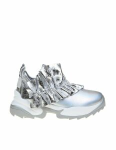 Sergio Rossi Extreme Sneakers In Painted Leather In Silver Color