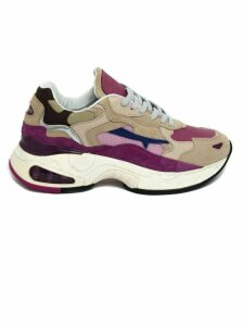 Premiata Pink Calf Leather And Suede Sharky Sneakers
