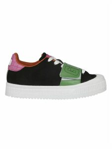 GCDS Front Velcro Logo Print Laced-up Sneakers