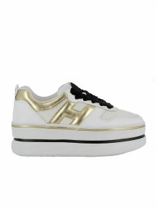 White/gold Leather Sneakers