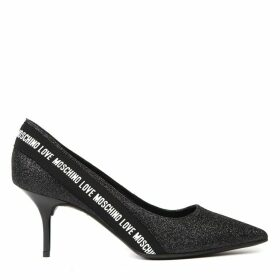 Love Moschino Black Glitter Pumps With Logoed Ribbon