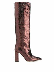 Paris Texas embossed knee length boots - Metallic