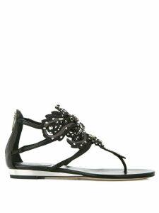 René Caovilla jewelled flower sandals - Black