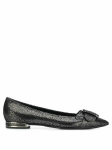 Casadei sparkly pointed ballerina shoes - Black