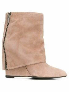 The Seller foldover wedge boots - NEUTRALS