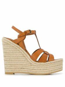 Saint Laurent high wedge heel sandals - Brown
