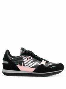 Emporio Armani logo printed sneakers - Black