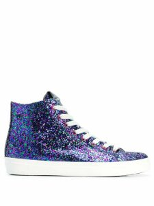 Leather Crown glitter hi-top sneakers - Blue