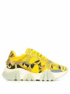 Versace platform signature-print sneakers - Yellow