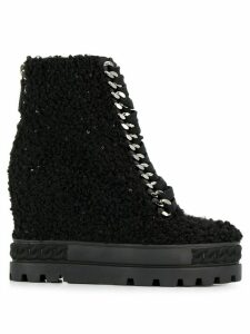 Casadei shearling wedge boots - Black