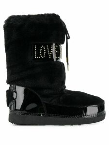 Love Moschino quilted patent snow boots - Black