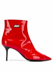 MSGM stiletto heel ankle boots - Red