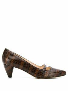 Lenora snakeskin-effect pumps - Brown