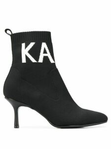 Karl Lagerfeld Pandora Knit Collar ankle boots - Black