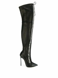 Casadei thigh length lace-up boots - Black