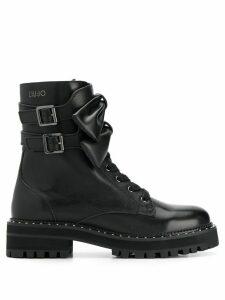 LIU JO bow-embellished combat boots - Black