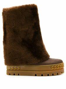 Casadei flatform boots - Brown