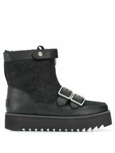 Ugg Australia shearling flat buckle boots - Black