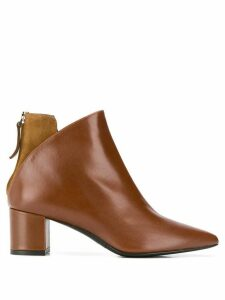 Albano contrasting panel ankle boots - Brown