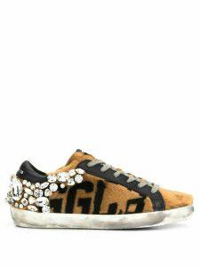 Golden Goose Superstar crystal-embellished sneakers - NEUTRALS
